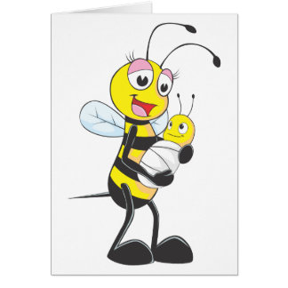 Happy Mother and Baby Bee Greeting Card