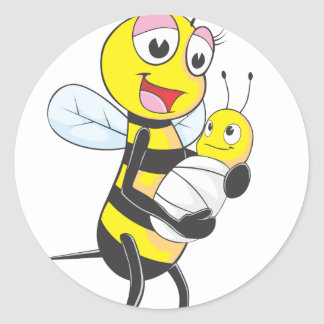 Happy Mother and Baby Bee Round Stickers