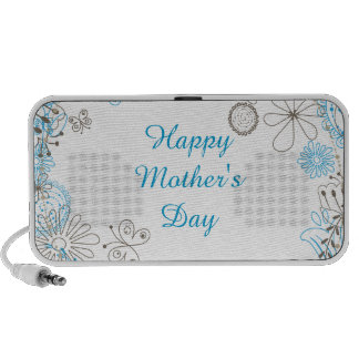 Happy Mother s Day Blue Flowers Travel Speakers