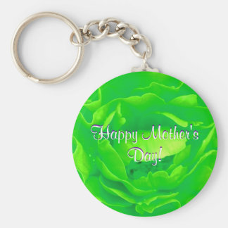 Happy Mother s Day Bright Green Rose Key Chains