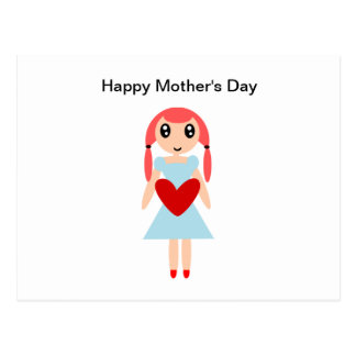 Happy Mother's day Girl with Heart Postcard