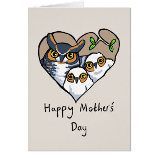 Happy Mother's Day Owl Nest Heart Card