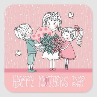Happy Mother's Day and Children Square Sticker