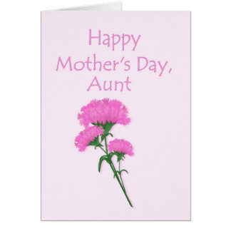 Happy Mother's Day Aunt Pink Carnations Card