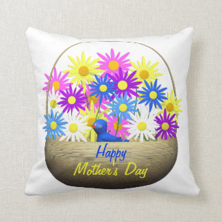 Happy Mothers Day Basket of Daisies and Blue Bird Cushion