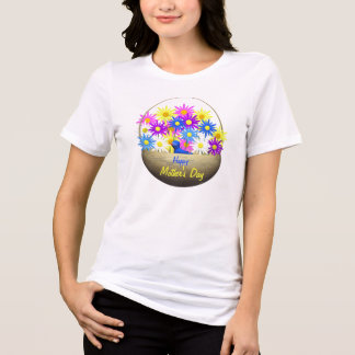 Happy Mothers Day Basket of Daisies and Blue Bird T-Shirt