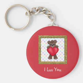 Happy Mother's Day Bears Basic Round Button Key Ring