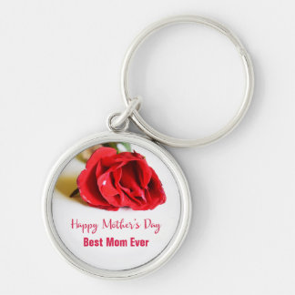 Happy Mother's Day Best Mom Ever + Single Red Rose Key Ring