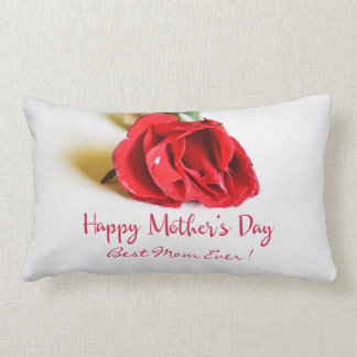 Happy Mother's Day Best Mom Ever + Single Red Rose Lumbar Cushion