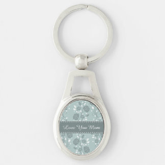 Happy Mother's Day Blue Floral Design Key Chains