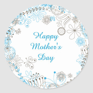 Happy Mother's Day Blue Flowers Classic Round Sticker