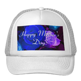 Happy Mother's Day Blue Purple Roses Cap