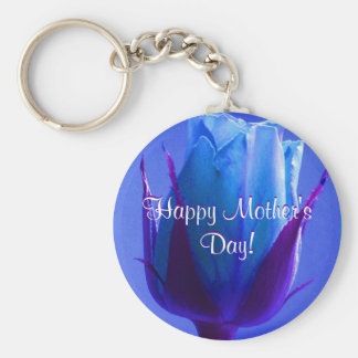 Happy Mother's Day Blue Rose Basic Round Button Key Ring