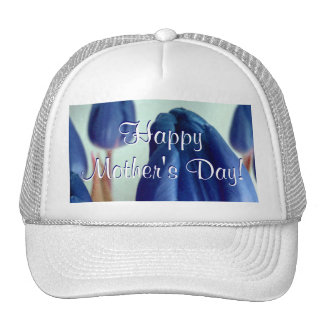 Happy Mother's Day Blue Tulips Cap