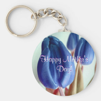 Happy Mother's Day Blue Tulips Basic Round Button Key Ring