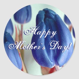 Happy Mother's Day Blue Tulips Classic Round Sticker