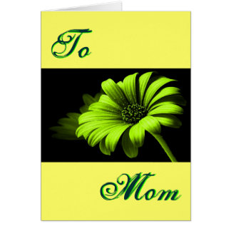 Happy Mother's Day Bright Green Yellow Daisy I Greeting Card