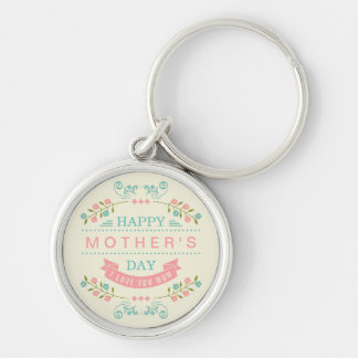 Happy Mother's Day - Chic Teal Cream Pink Floral Silver-Colored Round Keychain