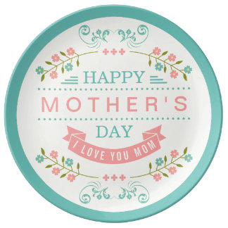 Happy Mother's Day - Chic Teal Cream Pink Floral Porcelain Plates