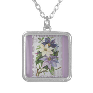 Happy Mother's Day Clematis Silver Plated Necklace
