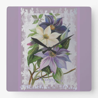 Happy Mother's Day Clematis Wallclock