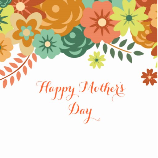 Happy Mother's Day Colorful Floral Design Photo Cutout