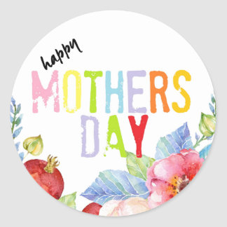 Happy Mothers day colorful typography Round Sticker