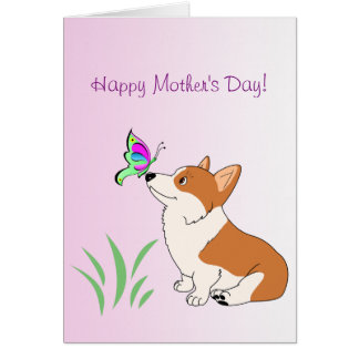 Happy Mother's Day Corgi with Butterfly Card