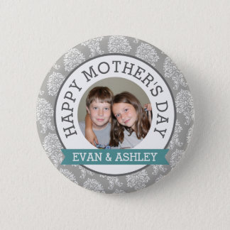 Happy Mother's Day - Custom Photo Template damask 6 Cm Round Badge