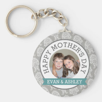 Happy Mother's Day - Custom Photo Template damask Basic Round Button Key Ring