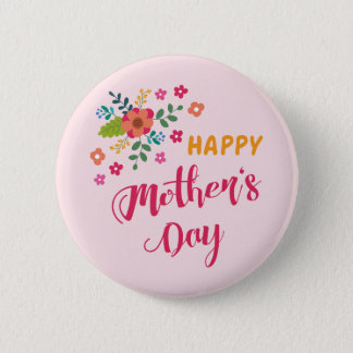 """Happy Mother's Day"" Cute Floral Pink Illustration 6 Cm Round Badge"