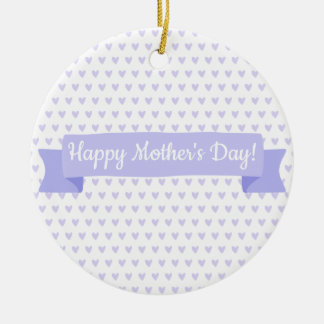 Happy Mother's Day | Cute Purple Hearts Pattern Ceramic Ornament