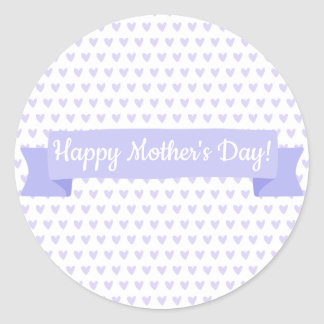 Happy Mother's Day | Cute Purple Hearts Pattern Classic Round Sticker