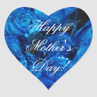 Happy Mother's Day Elegant Blue Roses Floral Heart Sticker