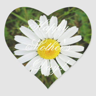 Happy Mother's Day Elegant Daisy Flower Floral Heart Sticker