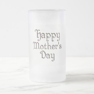 Happy Mother's Day Elegant Floral Typography Frosted Glass Beer Mug