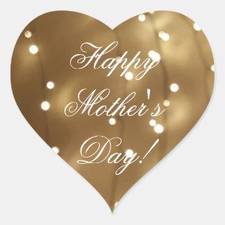 Happy Mother's Day Elegant Gold Brown Lights Heart Sticker