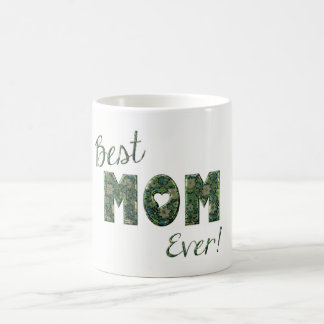 Happy Mother's Day Elegant Green Floral Typography Coffee Mug