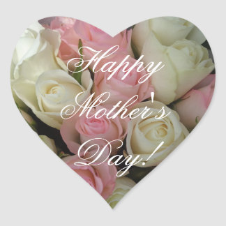 Happy Mother's Day Elegant Pink White Roses Floral Heart Sticker