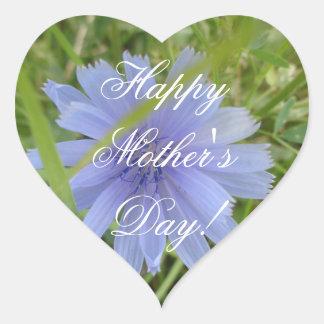 Happy Mother's Day Elegant  Purple Flower Floral Heart Sticker