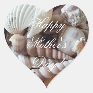 Happy Mother's Day Elegant Sea Shells Beach Theme Heart Sticker