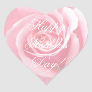 Happy Mother's Day Elegant Soft Pink Roses Floral Heart Sticker