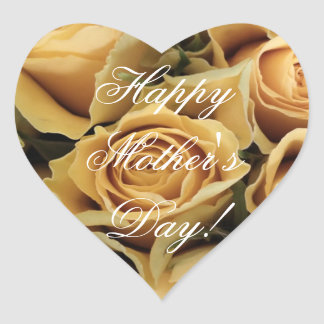 Happy Mother's Day Elegant Yellow Roses Floral Heart Sticker