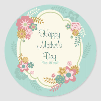 Happy Mother's Day Floral Frame Classic Round Sticker