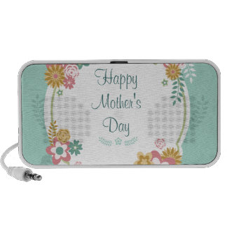 Happy Mother's Day Floral Frame iPhone Speakers