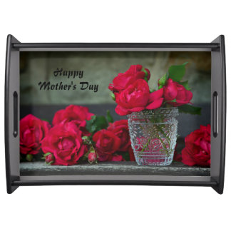 Happy Mother's Day Fresh-Cut Red Roses Serving Tray