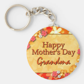 Happy Mother's Day Grandma Basic Round Button Key Ring
