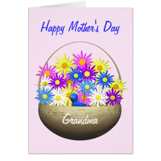 Happy Mothers Day Grandma Basket of Daisies Greeting Card