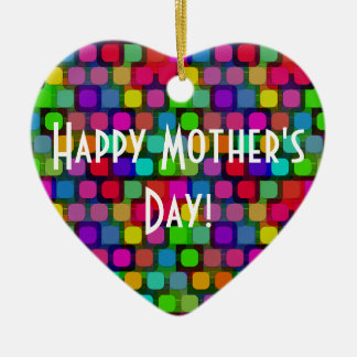Happy Mother's Day Heart Abstract Colorful Ceramic Heart Decoration