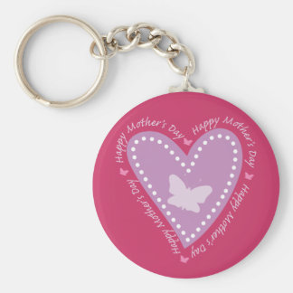 Happy Mothers Day Heart & Butterfly Basic Round Button Key Ring